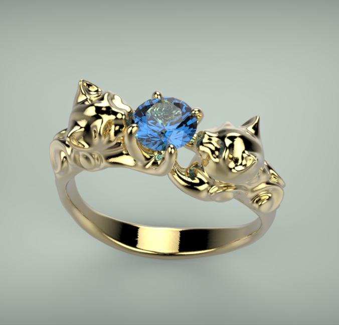 Arany-Színes drágakő gyűrű4
